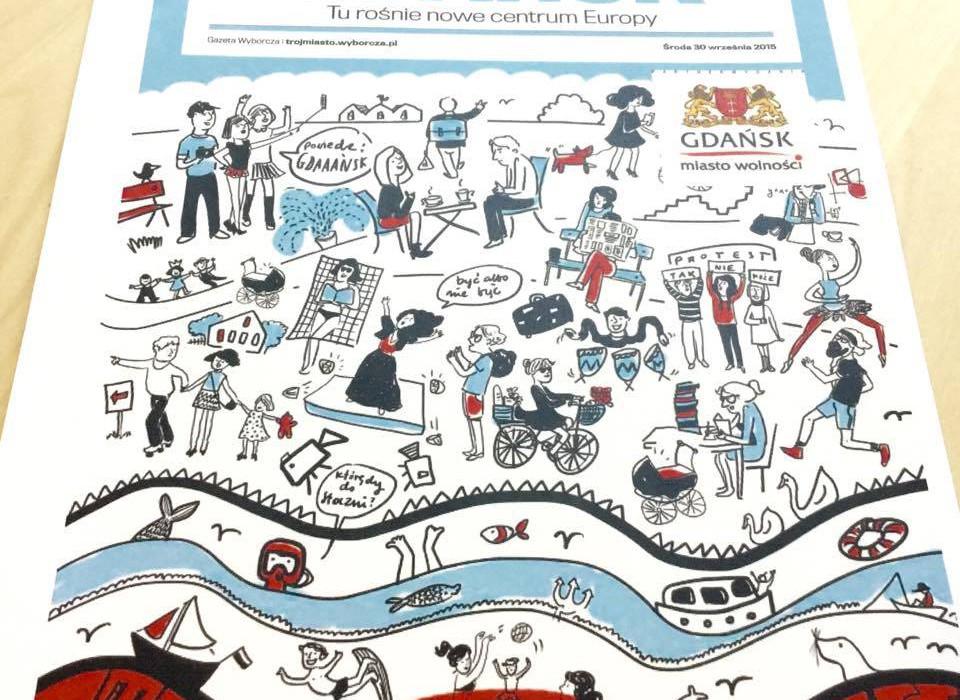 """Okładka magazynu idei """"Gdańsk - nowe centrum Europy"""" , ilustracja Magdalena Danaj"""
